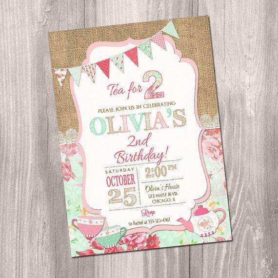 Tea For Two Invitation Tea Party Invitation Nd By Styleswithcharm