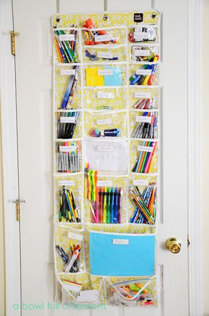 Diy Back To School Homework Station Ideas Use An Over The Door Organizer As A And Art Supply Via Bowl Full Of Lemons