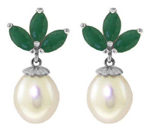 14K White Gold Freshwater Pearl Earrings with Emeralds Galaxy Gold Products Inc. http://www.amazon.com/dp/B003HEP9DO/ref=cm_sw_r_pi_dp_TPTdvb1NQ1NQM