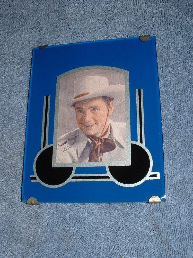 Vintage 1930s Art Deco Reverse Painted Picture Frame Rare Blue 4x5