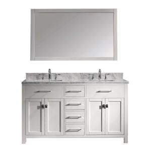 Virtu Usa Caroline 60 In W Bath Vanity In White With Marble