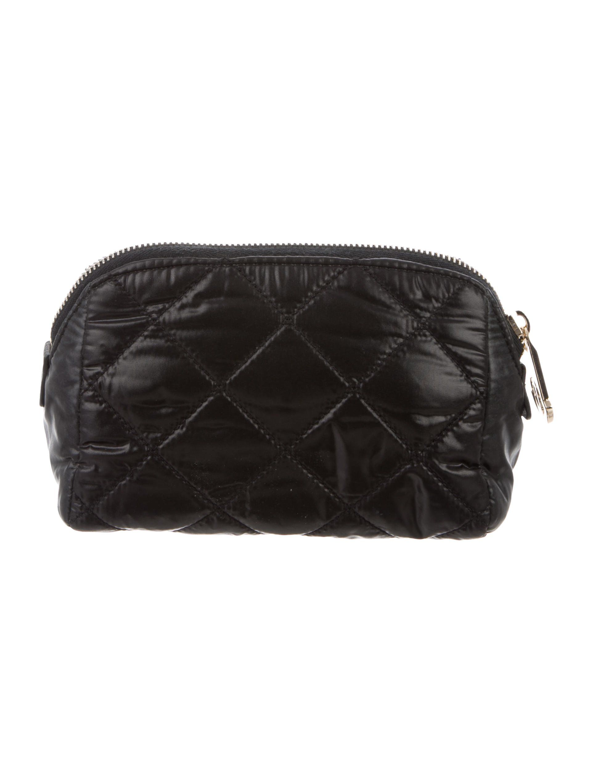 Black quilted nylon Moncler cosmetic bag with logo at front exterior 1d47d40fa8656