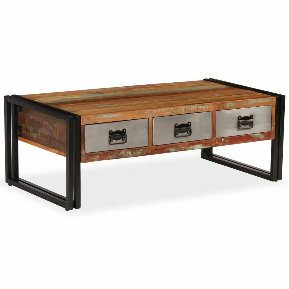 Vidaxl Coffee Table With 3 Drawers Solid Reclaimed Wood 39 4x19