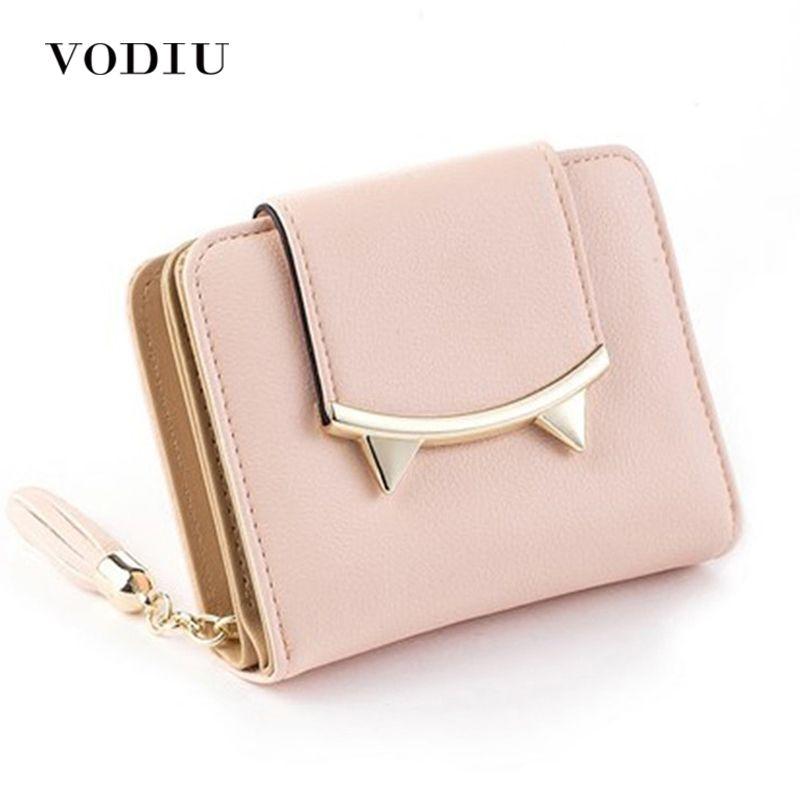 5874183660e Korean Cute Cat Anime Leather Trifold Slim Mini Wallet Women Small ...