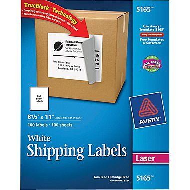 Avery Full-Sheet Labels with TrueBlock Technology Inkjet 8 1//2 x 11 White 100