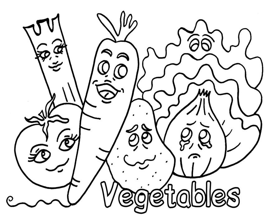 Fruit Vegetable Coloring Pages With