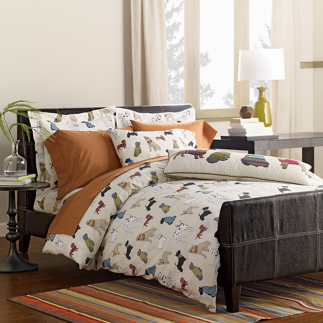 Dog Show Percale Duvet Cover and Sham
