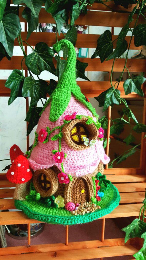 Handmade Crochet Fantasy Fairy or Gnome House OOAK   Amigurumi ...