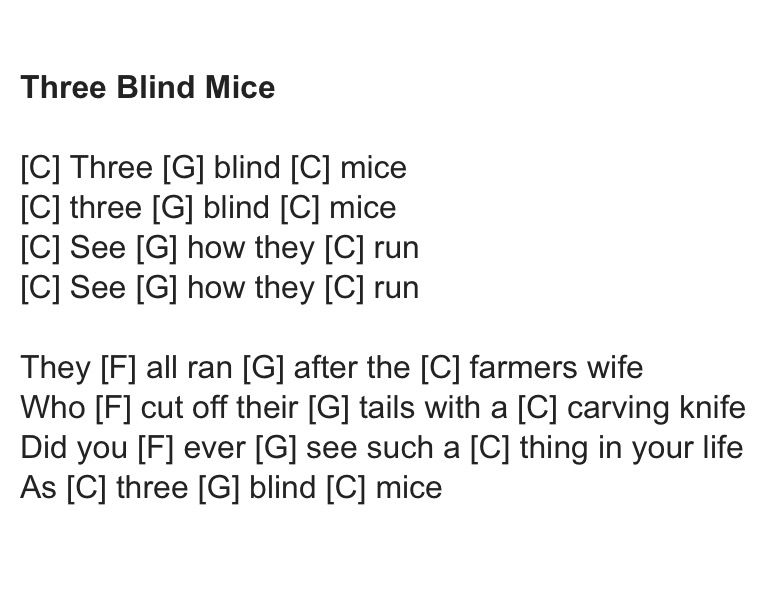 Three Blind Mice - ukulele chords | ukelele rhyms | Pinterest ...