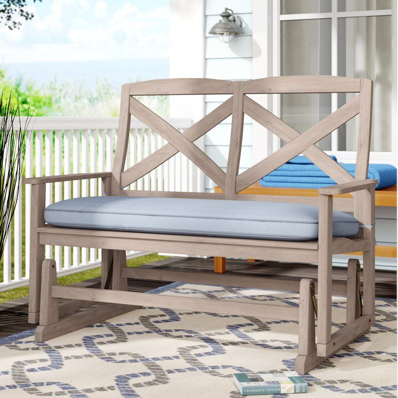 Englewood Glider Bench With Cushion Patio Rocking Chairs Outdoor Rocking Chairs Wood Patio