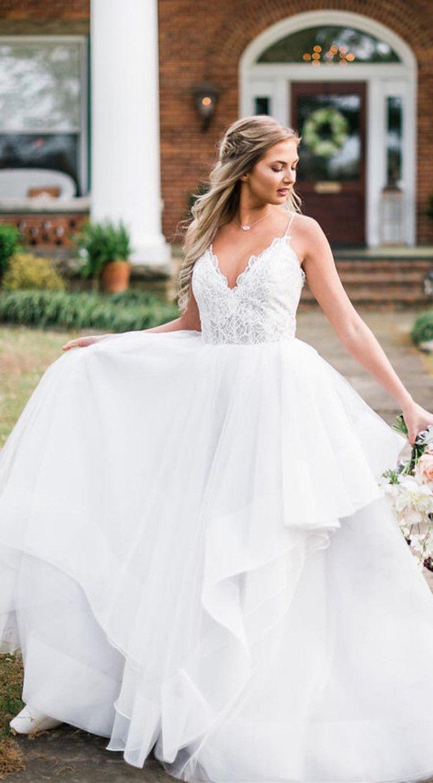 Princess straps aline white long bridal gown ball gown