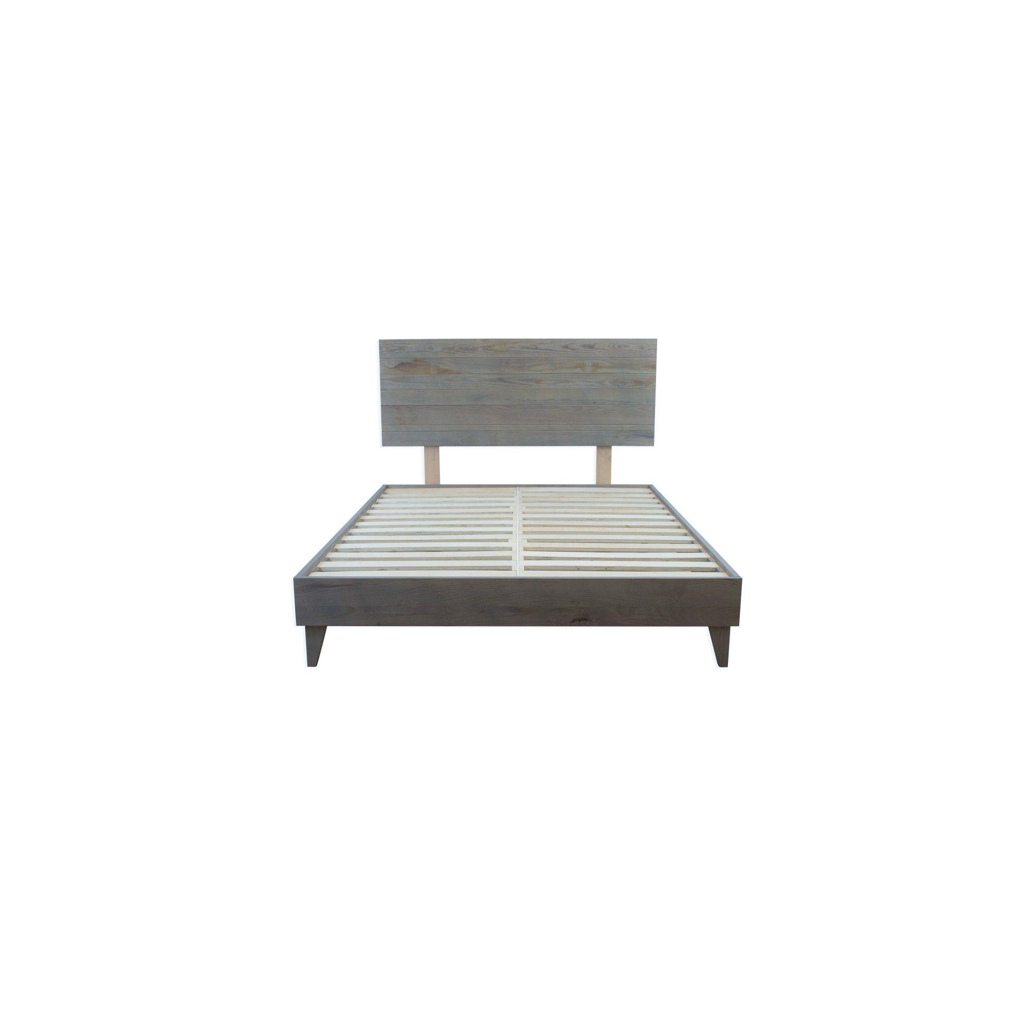 Eluxruy Barnwood Platform Bed Frame And Headboard California King