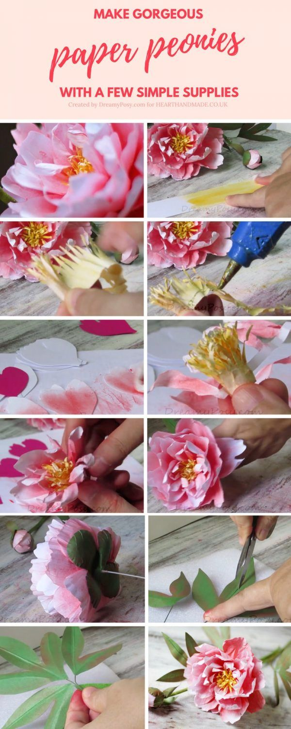 Diy paper flower wedding decorations  Make Gorgeous Paper Peonies With A Few Simple Supplies  Paper