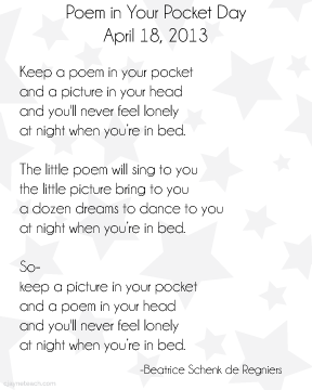 image relating to Keep a Poem in Your Pocket Printable named Pin upon Literacy K-6