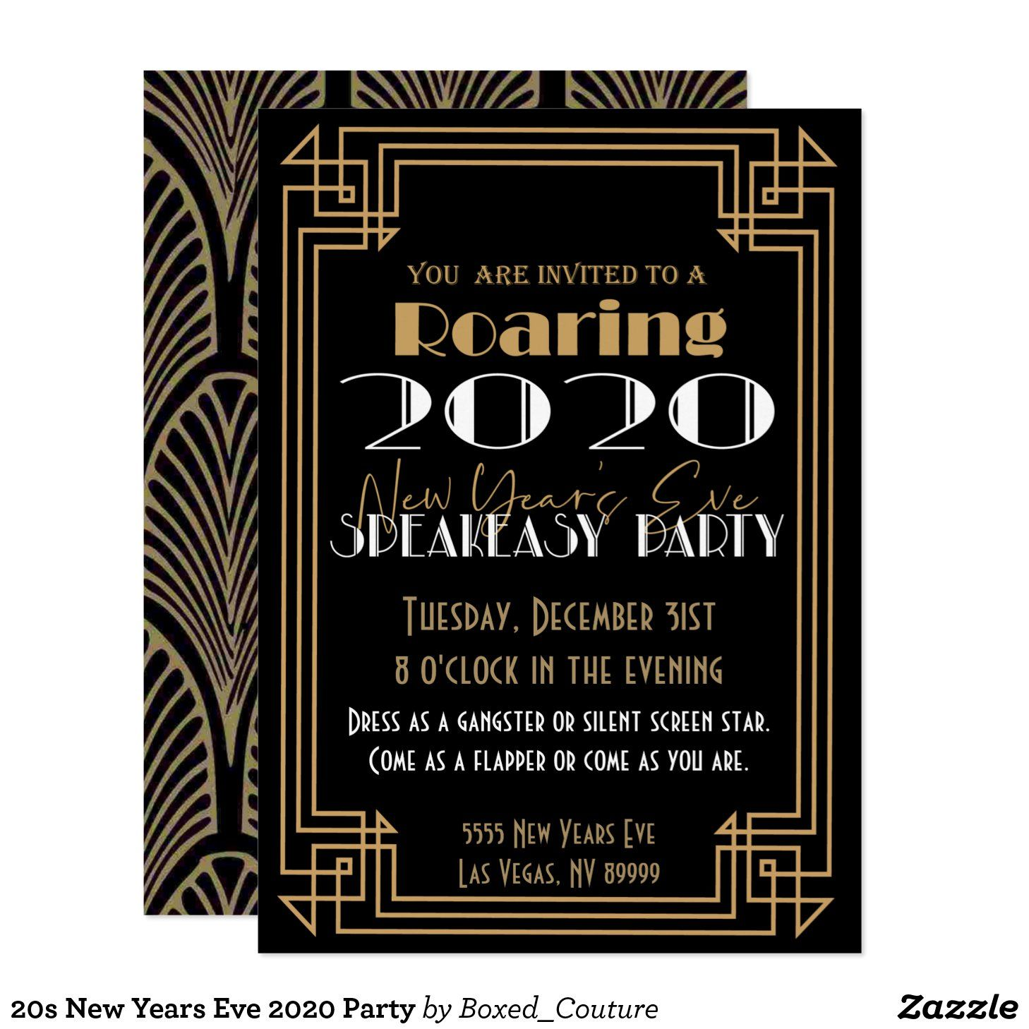 20s New Years Eve 2020 Party Invitation in