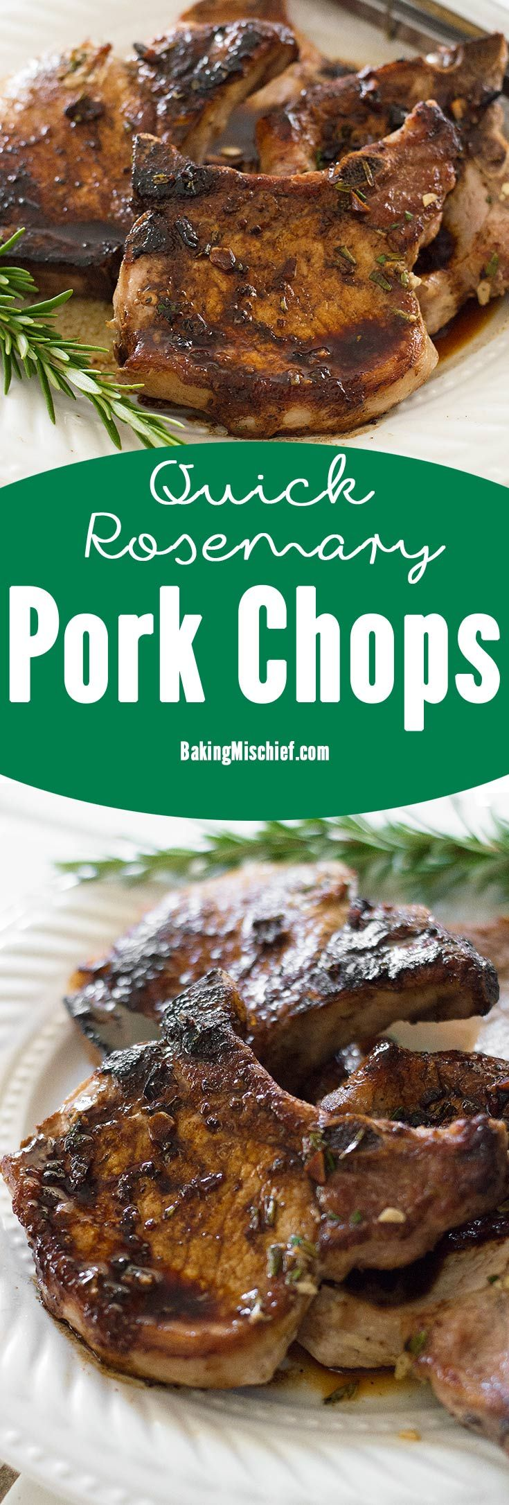 Quick pork chops made with rosemary and sherry that can be