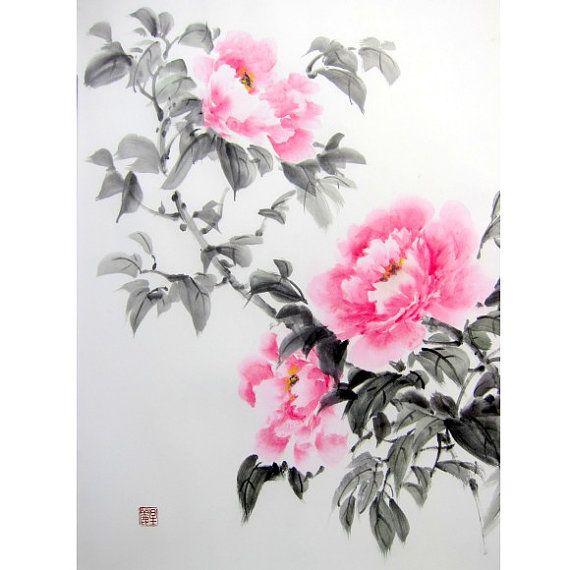 Ink Painting, Japanese art, Sumi-e, Suibokuga, Oriental art,Rice Paper painting, 17x22', Pink Peonies