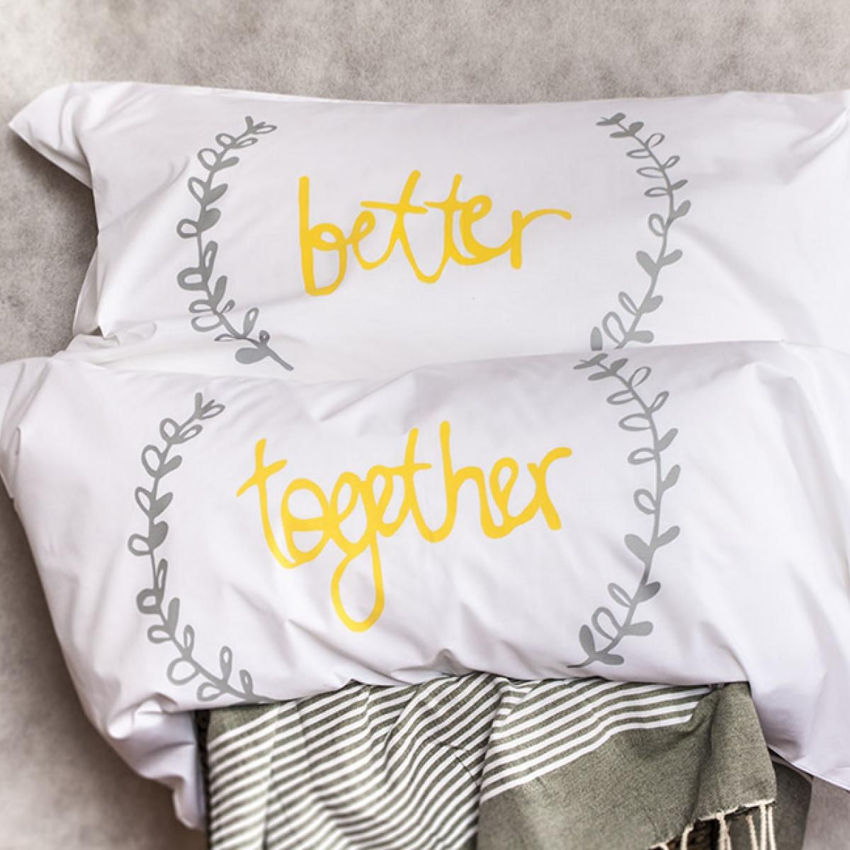 His and Hers Screenprinted Pillow Cases NOOKROAD AUD 35