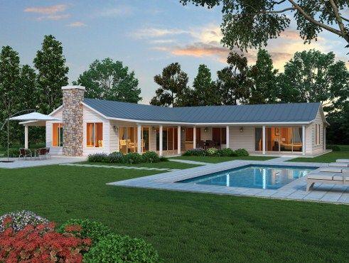 Plano De Casa En L Con 3 Dormitorios En 2020 Planos De Casas Modernas Planos De Casas Casas Estilo Campo