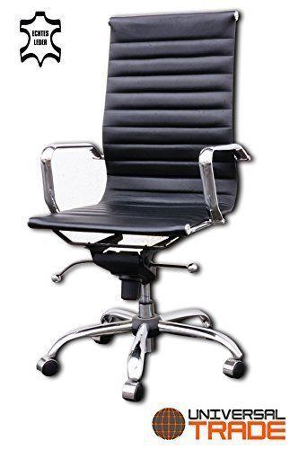 Design schreibtischstuhl  Bürostuhl Schreibtischstuhl Drehstuhl Chefsessel schwarz Echtleder ...