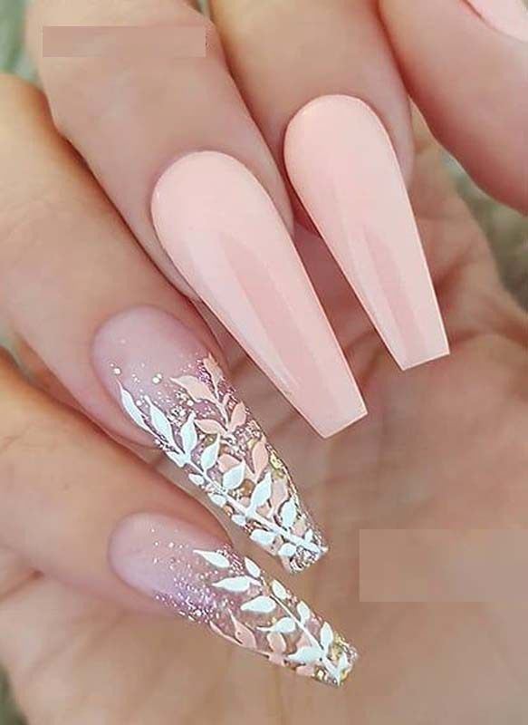 Cute Pastel Salmon Pink with Glitter Leaves on long Coffin