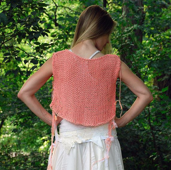 SALE. coupon code EP30OFF. CoralEuphoria... a wearable art cropped top, hand knit with tattered fabrics..  via Etsy.