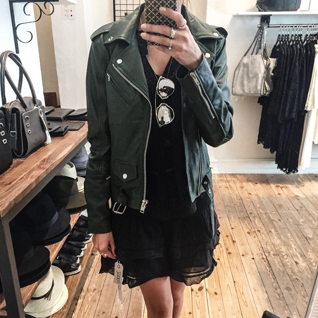 Leather jacket instagram -  _tinamaria P Instagram Green Love Meotine Leather Jackets