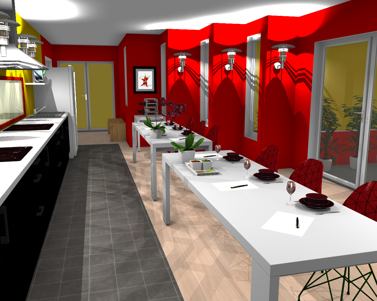 Kitchen Interior Design Ideas Rendering With Free Home Software Red