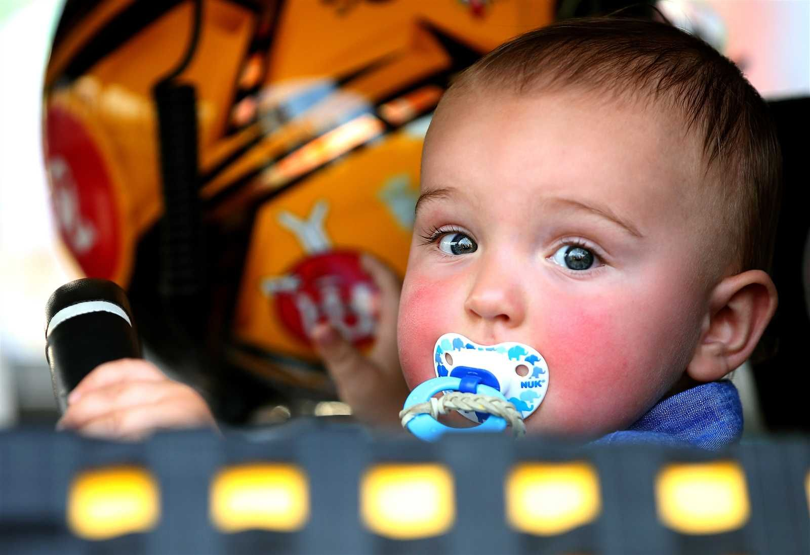 At-track photos: Saturday, Kansas:   Sunday, May 8, 2016  -   Brexton, son of Kyle Busch, sits in his dad's No. 18 Toyota during pre-race ceremonies at the Midwestern track.  -   Photo Credit: Photo by Sean Gardner/NASCAR via Getty Images