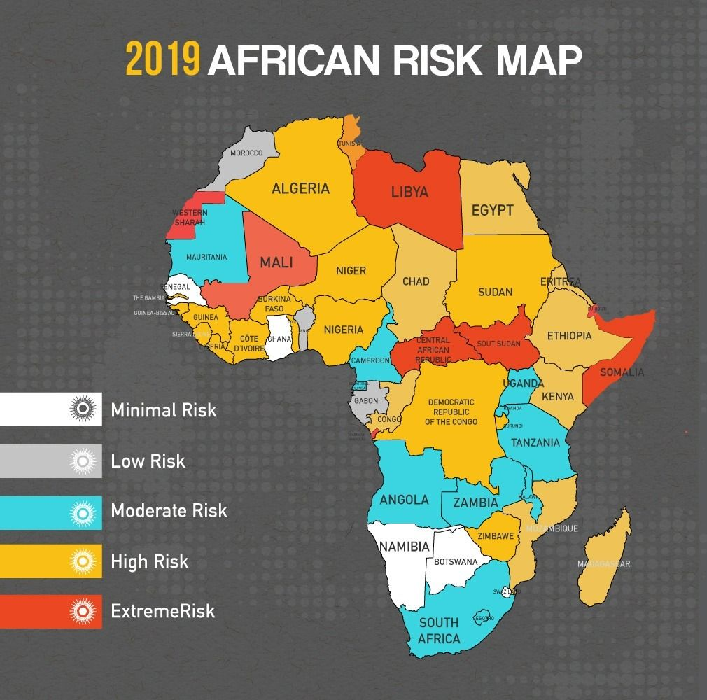 African Travel Risk, 2019. | Maps | Africa map, African, Africa