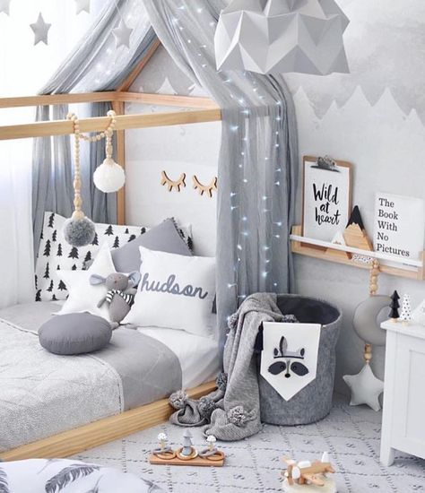 Grey, White and Wood Modern Kids Bedroom with Canopy, Throw Pillows