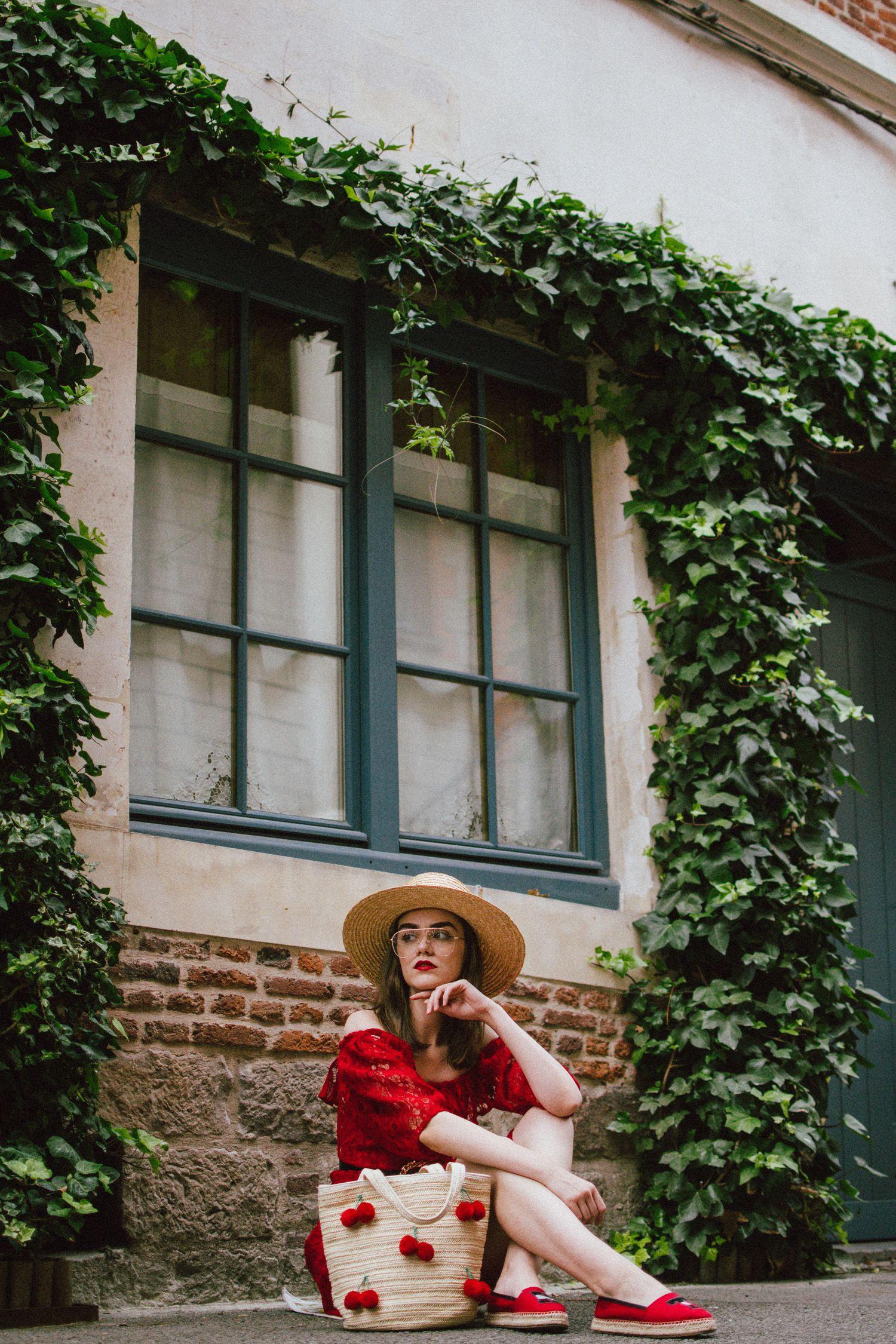 c4c1e547fb243 Zara red midi lace dress, ots dress, straw boater hat, red sequin T tommy  hilfiger espadrilles, cherry straw bag, france, andreea birsan, couturezilla,  ...