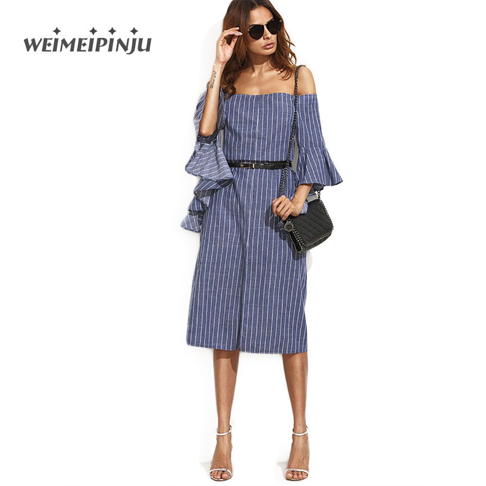 9195d1ae069a9 Ladies Dresses Summer Casual Blue Striped Split Ruffle Half Sleeve Off The  Shoulder Knee Length Shirt Dress