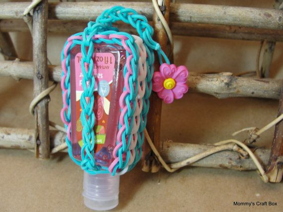 Rubber Band Woven Travel Hand Sanitizer Case With Button To