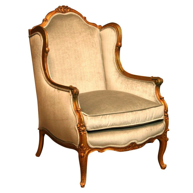 Exceptional 19th Century Louis XV Style Carved Giltwood Wingback