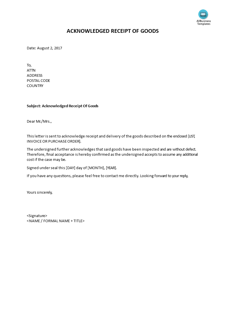 Acknowledged Receipt Of Goods Do You Need A Letter Acknowledging Receipt Of Goods Download This Professional Acknowl Best Templates Templates Cool Lettering