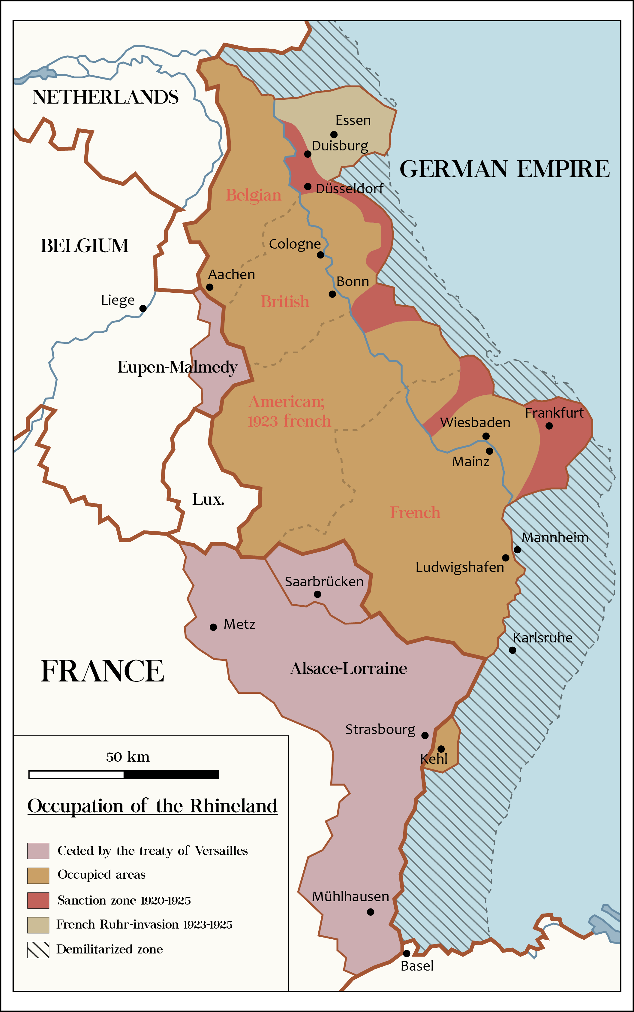 Allied Occupation of the Rhineland Map Pinterest