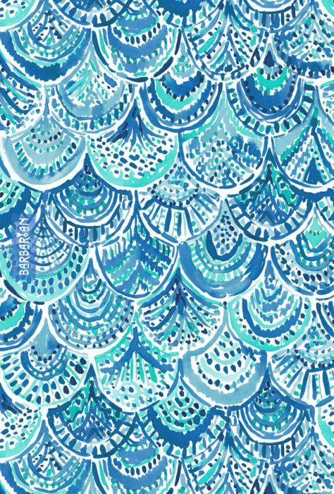 Splash Blue Watercolor Mermaid Scales Floral Wallpaper Iphone