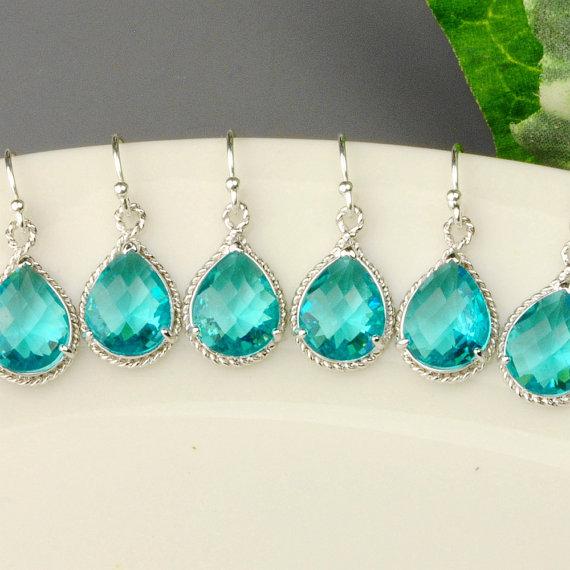 Sparkling sea green earrings - set of SIX!  Great for your bridesmaids!  15% OFF SET OF 6 Wedding Jewelry - Sea Green Earrings - Teal Blue Green Crystal Drop Earrings - Bridesmaid Earrings - Bridesmaid Jewelry - $133 - http://goo.gl/cKBmFa