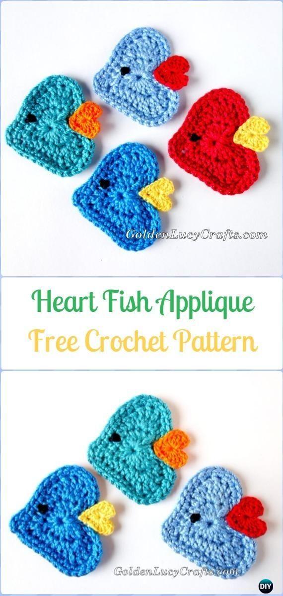 Crochet Heart Shaped Applique Free Patterns   Marcapáginas, Jugo y ...