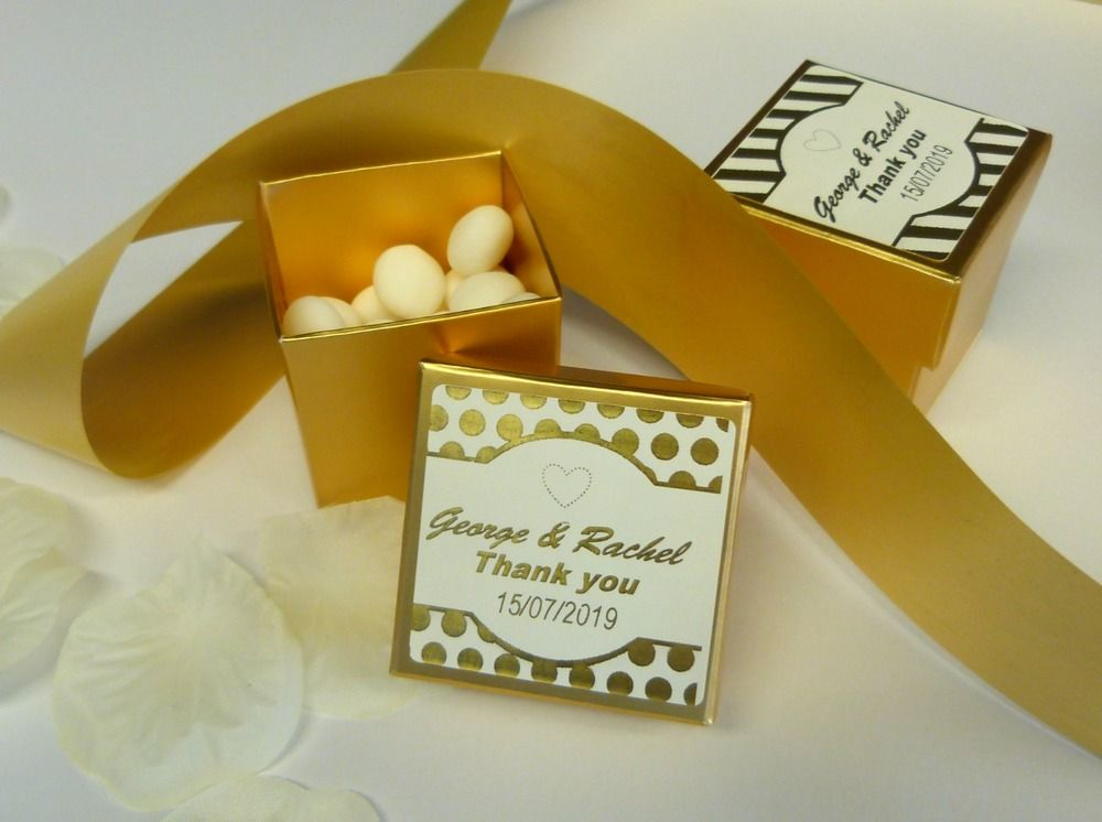 2inch gold wedding favour box with personalised stickers labels thank you spots