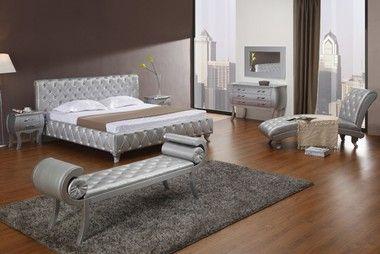 Modrest Platinum Edition Silver Crystals Modern Queen Size Bed Frame with 1 Dresser