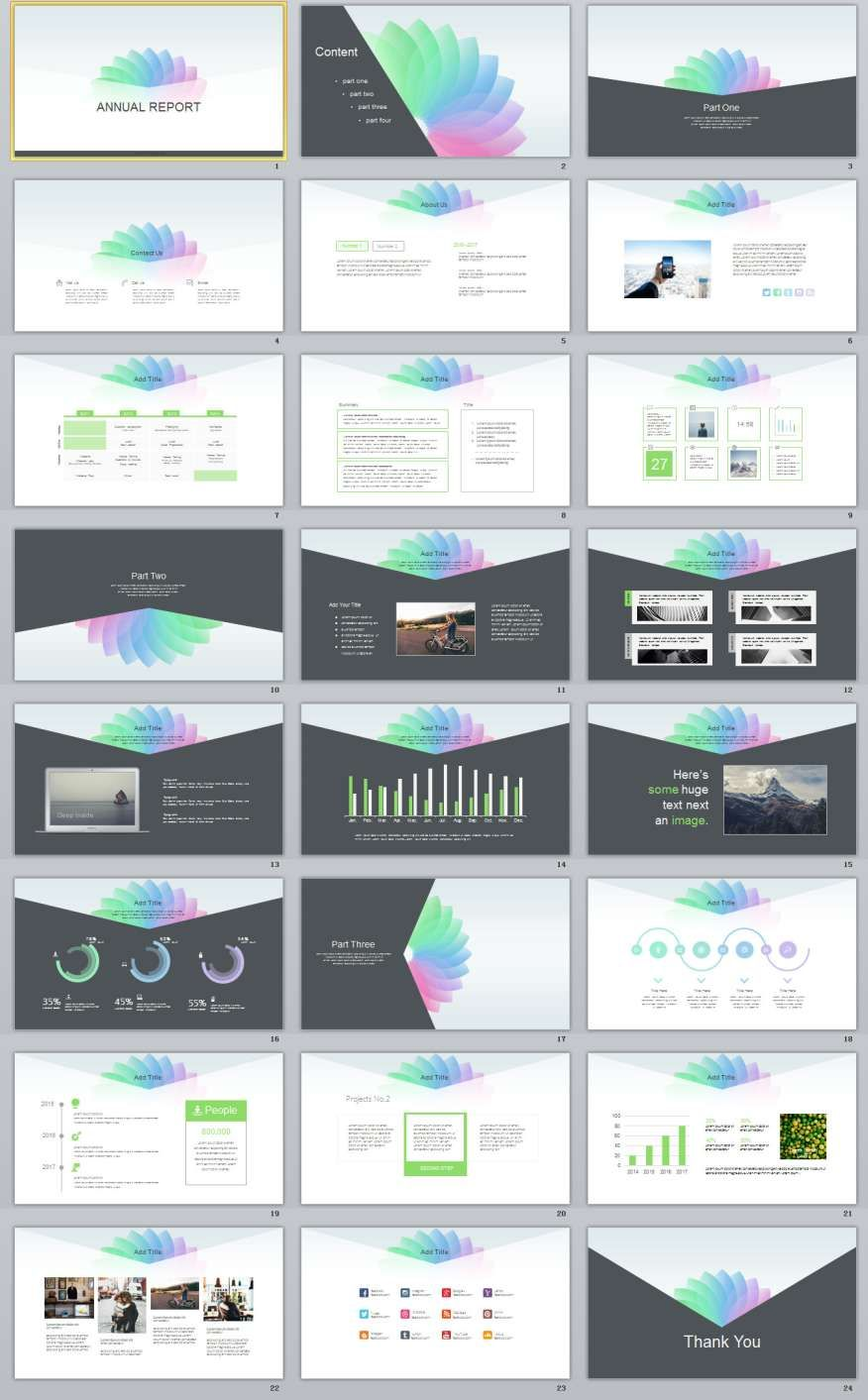 24  multicolor report powerpoint templates