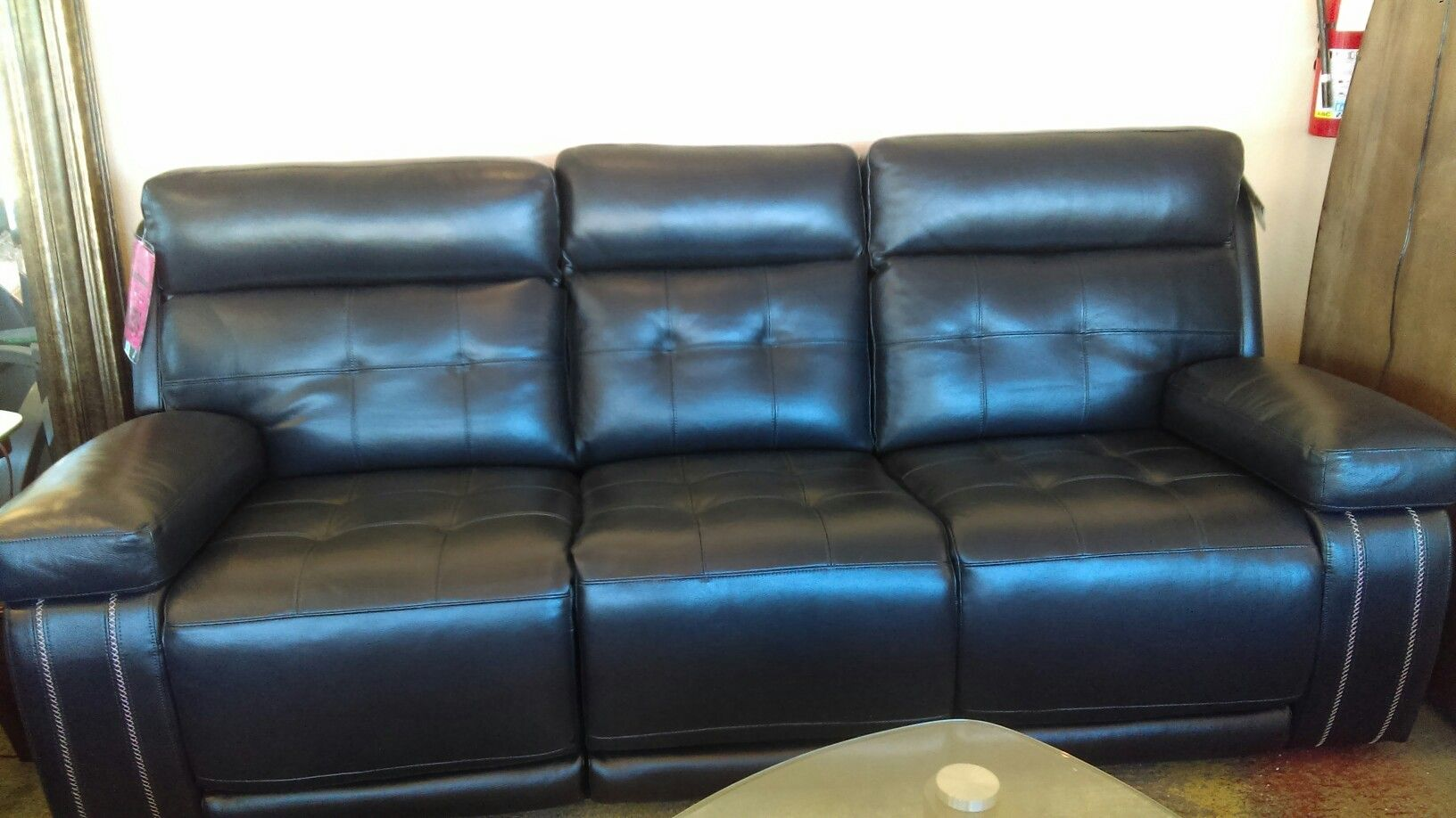 1600 navy top grain leather couch Leather couch, Couch