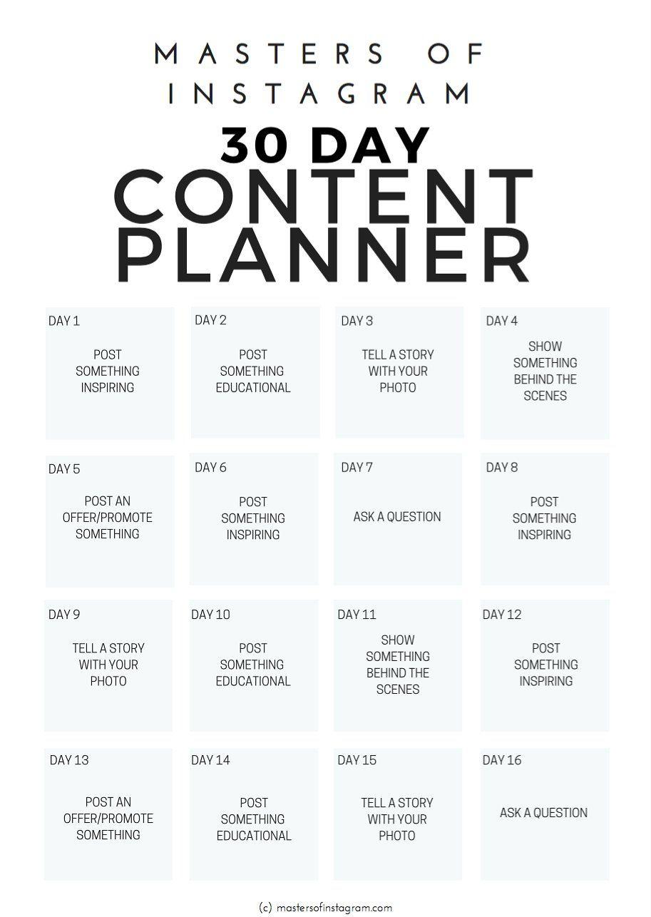 30 day instagram content planner by masters of instagram. Black Bedroom Furniture Sets. Home Design Ideas