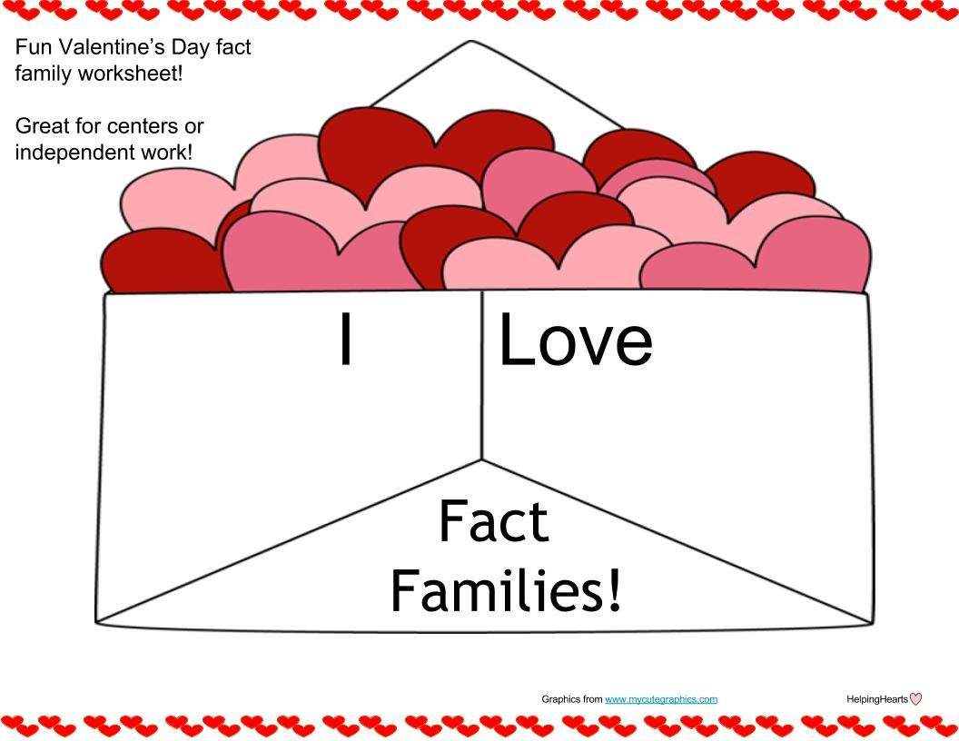 Valentine\'s Day Fact Families | Fact families, Family practice and ...