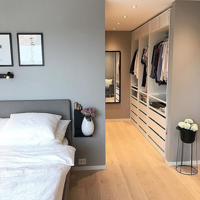 Scandi bedroom inspo with walking wardrobe