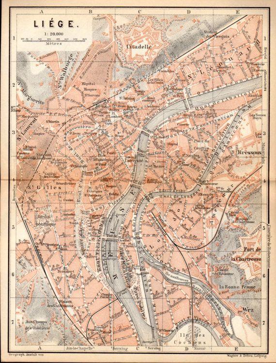 1897 lige belgium antique map vintage lithograph lidje wallonie belgique luik belgi walloon wallonia old city map antique plan