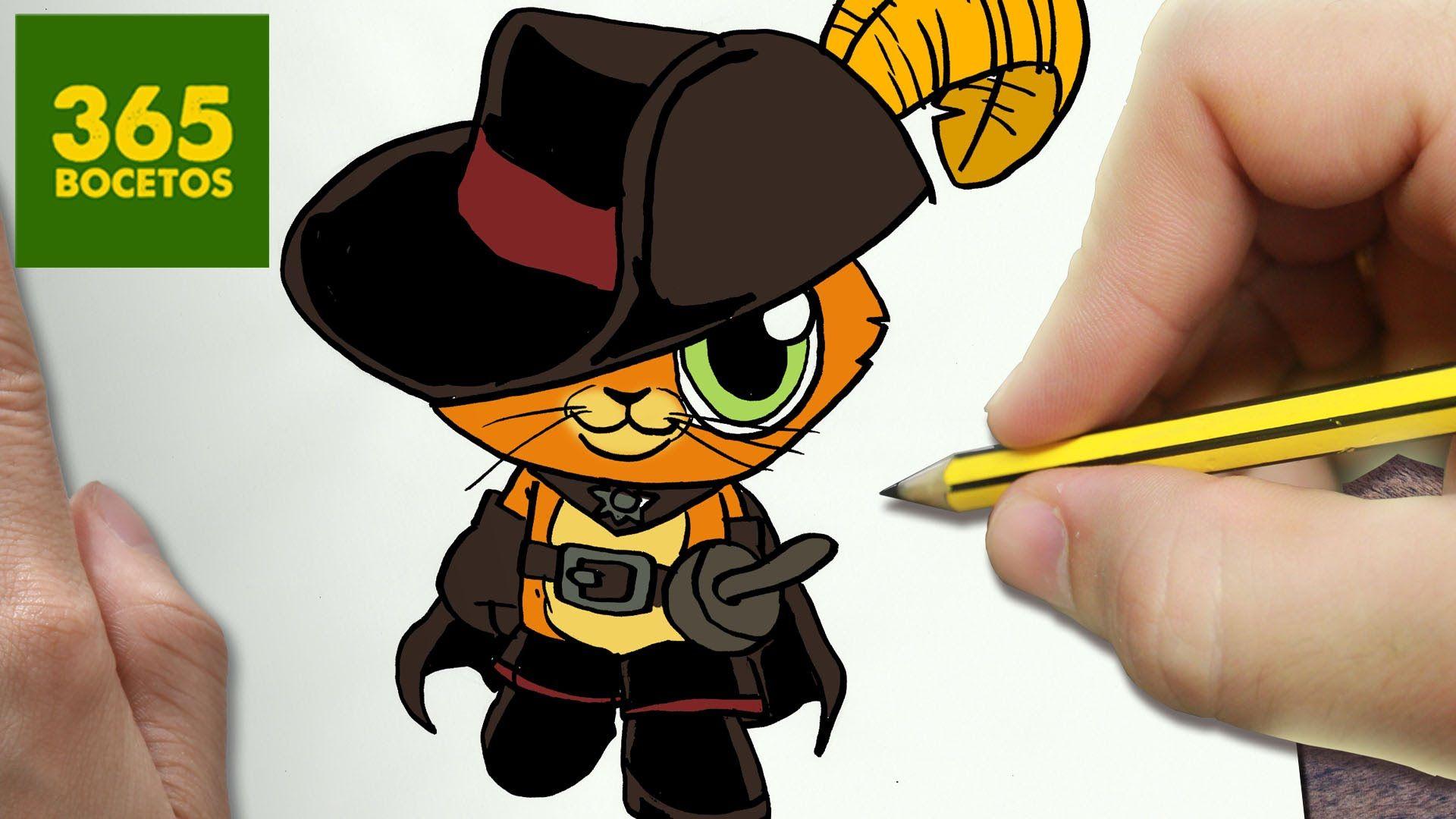 Como Dibujar Gato Con Botas Kawaii Paso A Paso Dibujos Kawaii