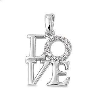 Diamond LOVE Pendant Necklace ~ Sterling Silver - High Polish Rhodium